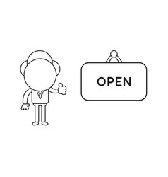 Businessman character with open hanging sign and vector