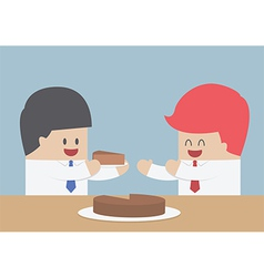 Businessman give a piece cake to another marke vector