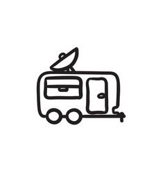 Caravan with satellite dish sketch icon vector
