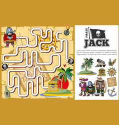 cartoon pirate treasure hunt maze concept vector image