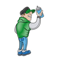 Cartoon young guy graffiti with green jacket and vector