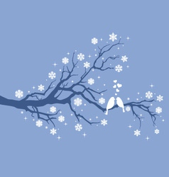 Christmas birds on winter tree vector image