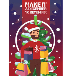 christmas winter sale happy smile beard vector image