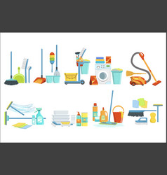 Cleaning household equipment sets clean up vector