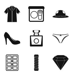 Clothes accessories icons set simple style vector