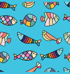 Colorful cute and simple fish seamless pattern vector