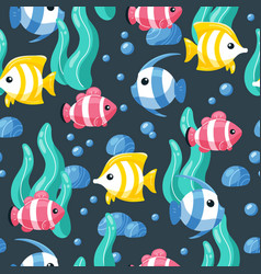 colorful fish seamless pattern underwater life vector image