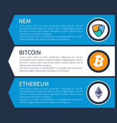 colorful nem orange bitcoin and white ethereum vector image