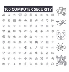 computer security editable line icons 100 vector image