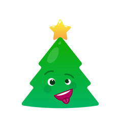 Crazy christmas tree isolated emoticon vector