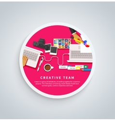 Creative Team Young Team Working at Desk vector