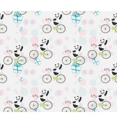 cute baby Panda on bike vector image