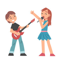 cute boy playing electric guitar and girl singing vector image