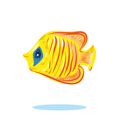 cute cartoon yellow fish character hand drawn vector image