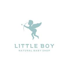 Cute cupid for baby shop market store label logo vector
