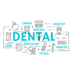 Dentistry medicine banner of dental thin line icon vector
