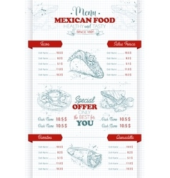 Drawing vertical scetch of mexican food menu vector image