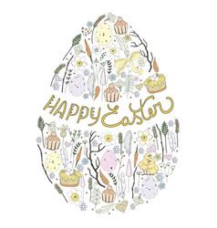 easter egg with easter symbols inside vector image