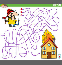 Educational maze game with cartoon firefighter vector