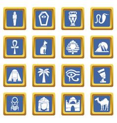 egypt travel icons set blue square vector image