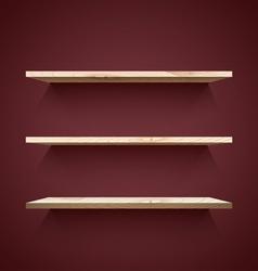 Empty wooden shelves vector