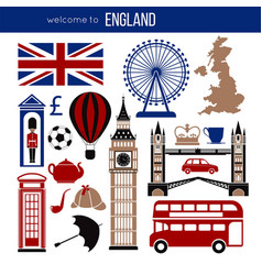 england uk sightseeing landmarks and famous vector image