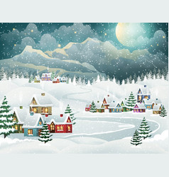 Evening winter village and mountains vector