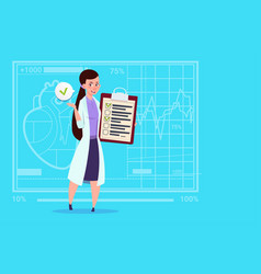female doctor holding clipboard with analysis vector image