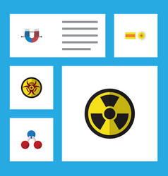 Flat icon study set of nuclear irradiation vector