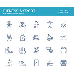 flat line icons design-fitness and sport vector image