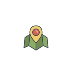Flat location icon icon with map pin Vintage vector image