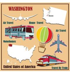 Flat map of Washington vector
