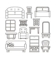 furniture interior icons vector image