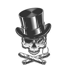 gentleman skull in cylinder hat vector image