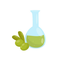 glass bottle of olive oil organic healthy food vector image