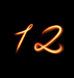 Glowing light number one and two hand lighting vector