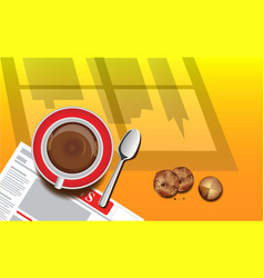 good morning monday with top view a cup coff vector image