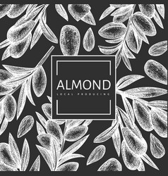 Hand drawn sketch almond design template organic vector