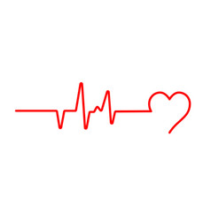 heart beat pulse flat icon for medical apps vector image
