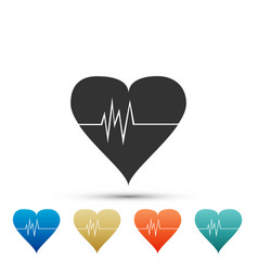 heart rate icon heart pulse icon cardiogram icon vector image