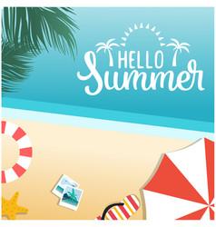 hello summer beach blue sky background imag vector image
