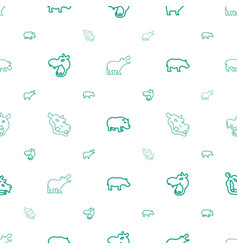 Hippo icons pattern seamless white background vector