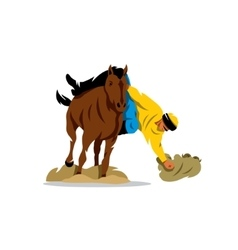 Horse game buzkashi cartoon vector