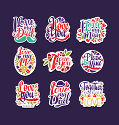 inscriptions about love set design elements for vector image