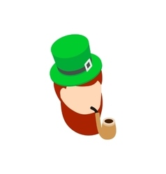 Leprechaun with green hat smoking pipe icon vector