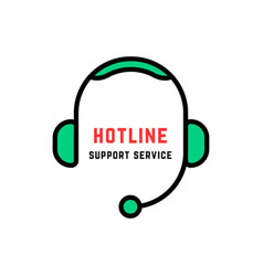 Linear style abstract hotline logo isolated vector