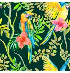 Macaw seamless pattern Topical flower and leaves vector