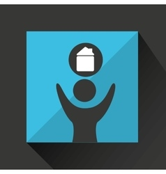 Man happy silhouette with house icon vector