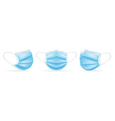 Medical masks template in different angles to vector