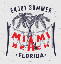 miami beach enjoy summer florida vector image